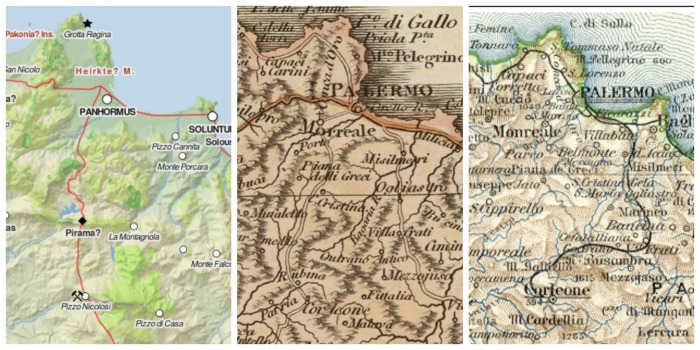 3 maps of Palermo province