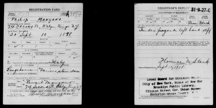 Filippo Mangano WWI draft card