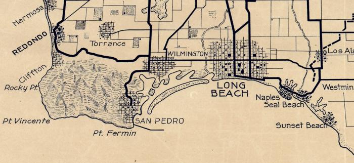 San Pedro Long Beach 1915 AAA map